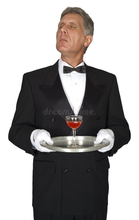 Οικονόμος, σερβιτόρος, κεντρικός υπολογιστής, κρασί, που απομονώνεται στοκ εικόνα