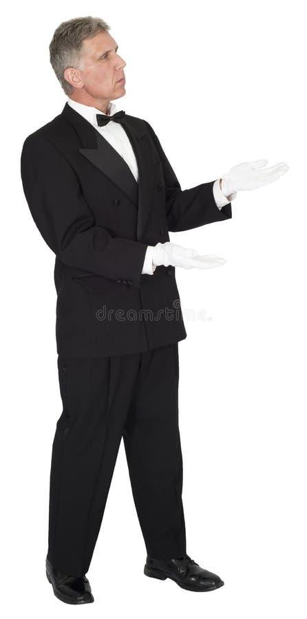 Οικονόμος, σερβιτόρος, το ΠΡΟΪΟΝ ΣΑΣ που απομονώνεται ΕΔΩ στοκ φωτογραφίες με δικαίωμα ελεύθερης χρήσης