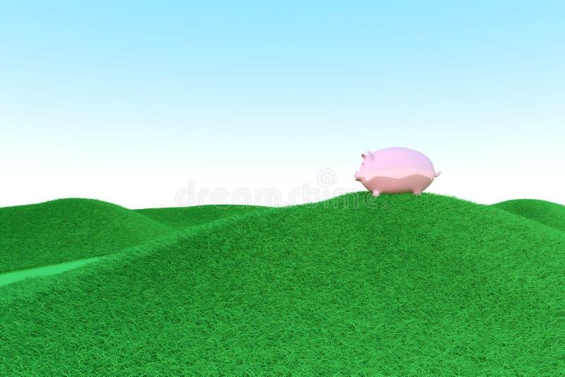 Οικολογία τραπεζών Piggy ελεύθερη απεικόνιση δικαιώματος