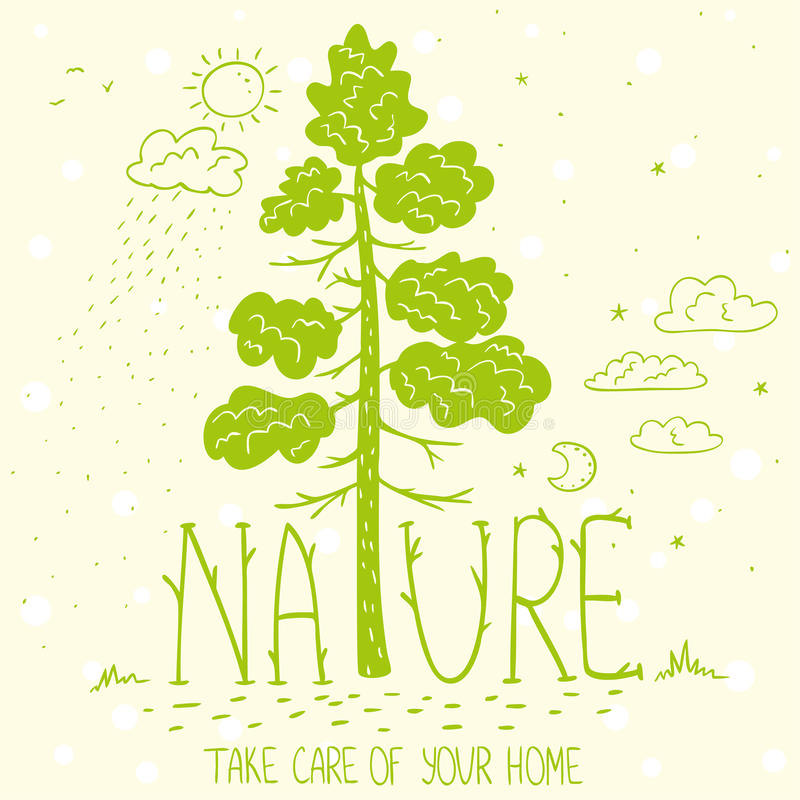 Οικολογία φύσης δέντρων διανυσματική απεικόνιση