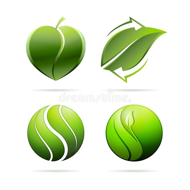 Οικολογικά εικονίδια έννοιας φύλλων Καρδιά, που ανακυκλώνει, yin yang επίσης corel σύρετε το διάνυσμα απεικόνισης διανυσματική απεικόνιση