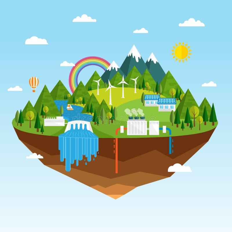 Οικολογικές πηγές ανανεώσιμης ενέργειας απεικόνιση αποθεμάτων