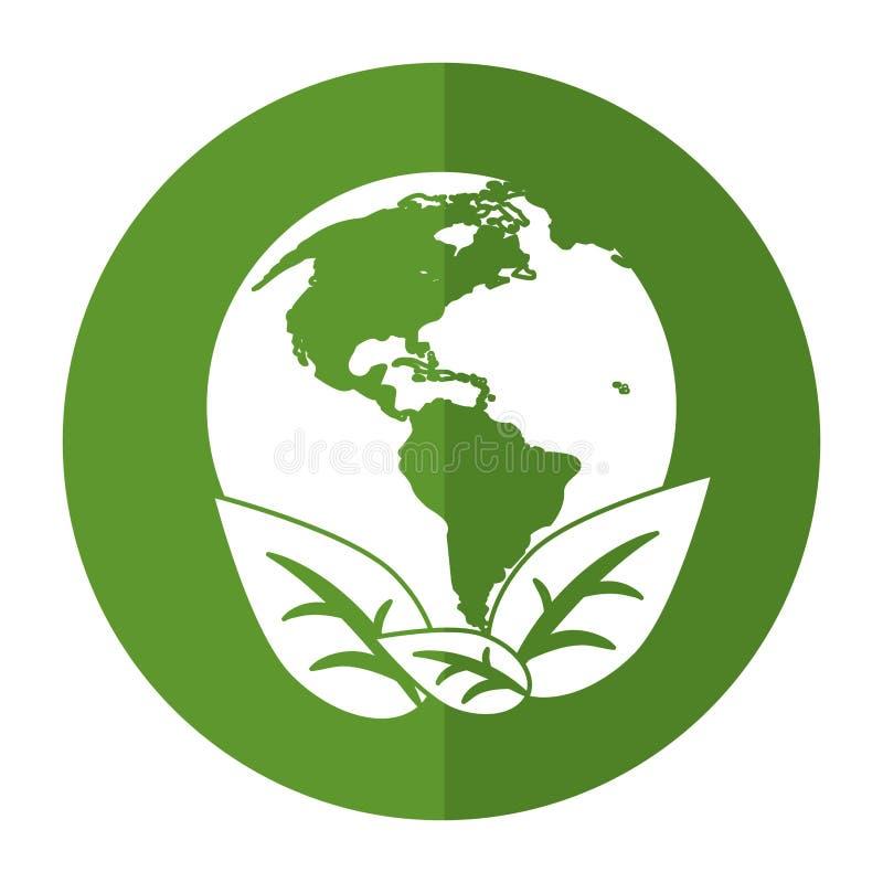 Οικολογική σκιά συμβόλων φύλλων περιβάλλοντος παγκόσμιας γης διανυσματική απεικόνιση