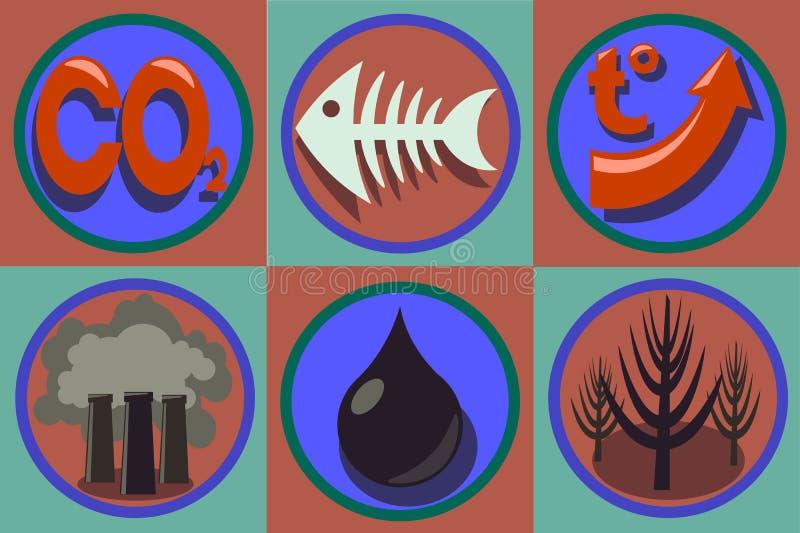 Οικολογικό σύνολο εικονιδίων προβλημάτων Παγκόσμια ρύπανση, παγκόσμια αύξηση της θερμοκρασίας λόγω του φαινομένου του θερμοκηπίου ελεύθερη απεικόνιση δικαιώματος