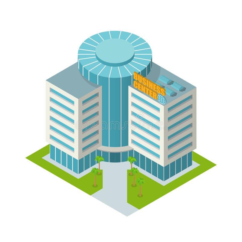 Οικοδόμηση εμπορικών κέντρων isometric διανυσματική απεικόνιση