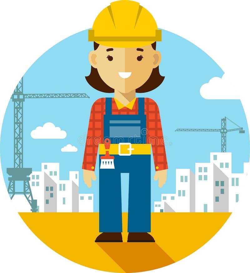 Οικοδόμος γυναικών στο υπόβαθρο κατασκευής στο επίπεδο ύφος ελεύθερη απεικόνιση δικαιώματος