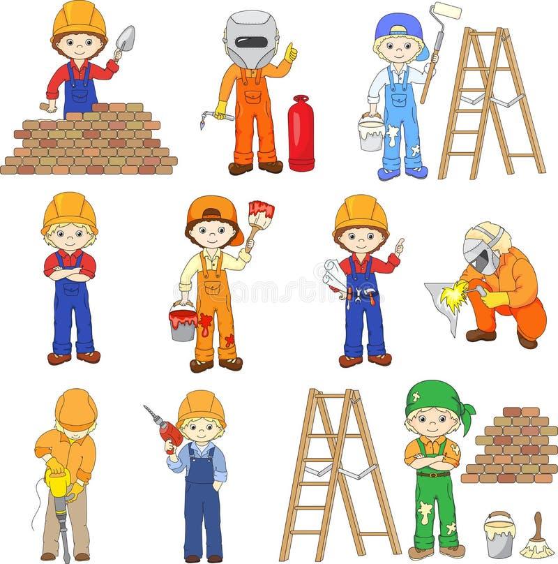 Οικοδόμος, οξυγονοκολλητής, ζωγράφος, ανάδοχος, μηχανικός και ηλεκτρολόγος W ελεύθερη απεικόνιση δικαιώματος