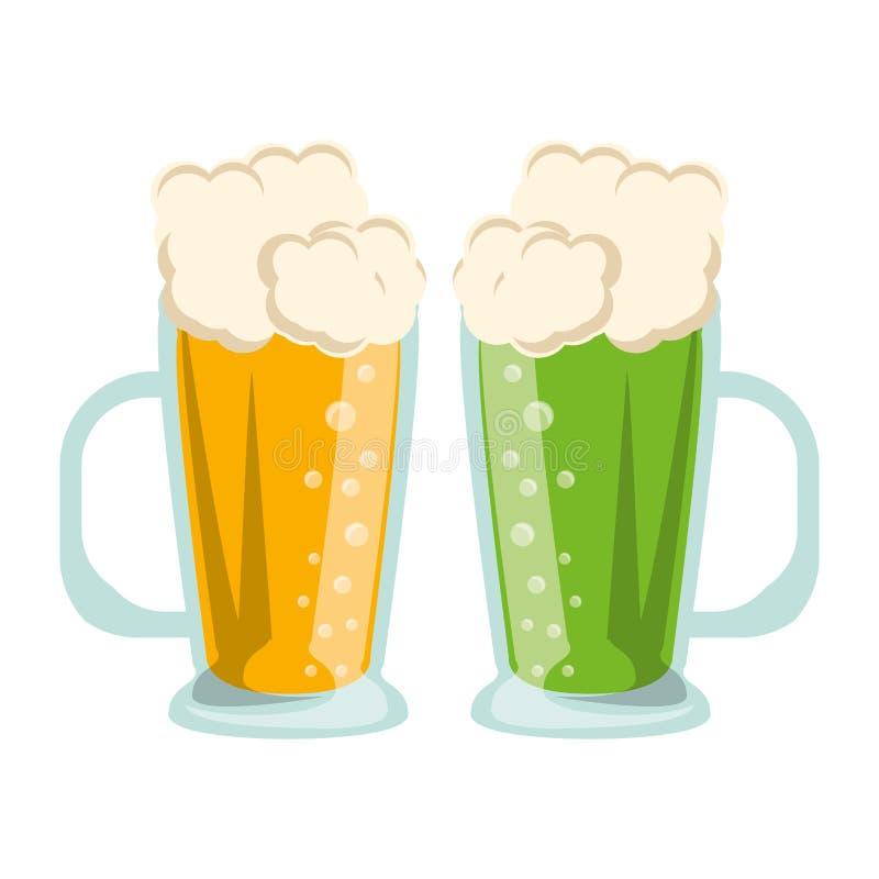 Οινοπνευματώδεις χυμοί γυαλιών μπύρας ελεύθερη απεικόνιση δικαιώματος