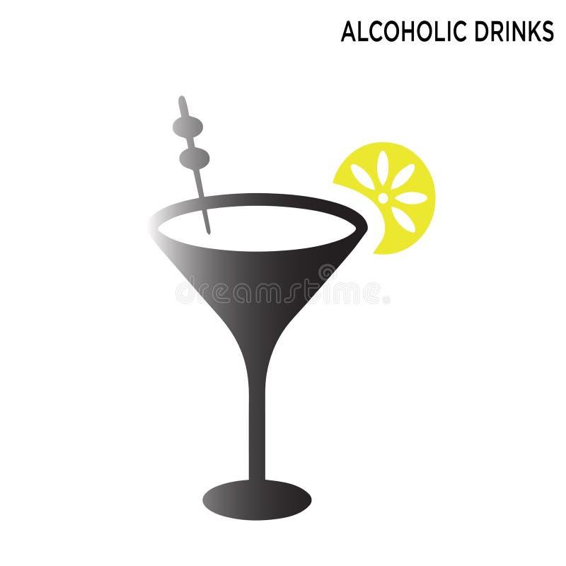 Οινοπνευματώδες εικονίδιο γυαλιού ποτών που απομονώνεται στο άσπρο υπόβαθρο απεικόνιση αποθεμάτων