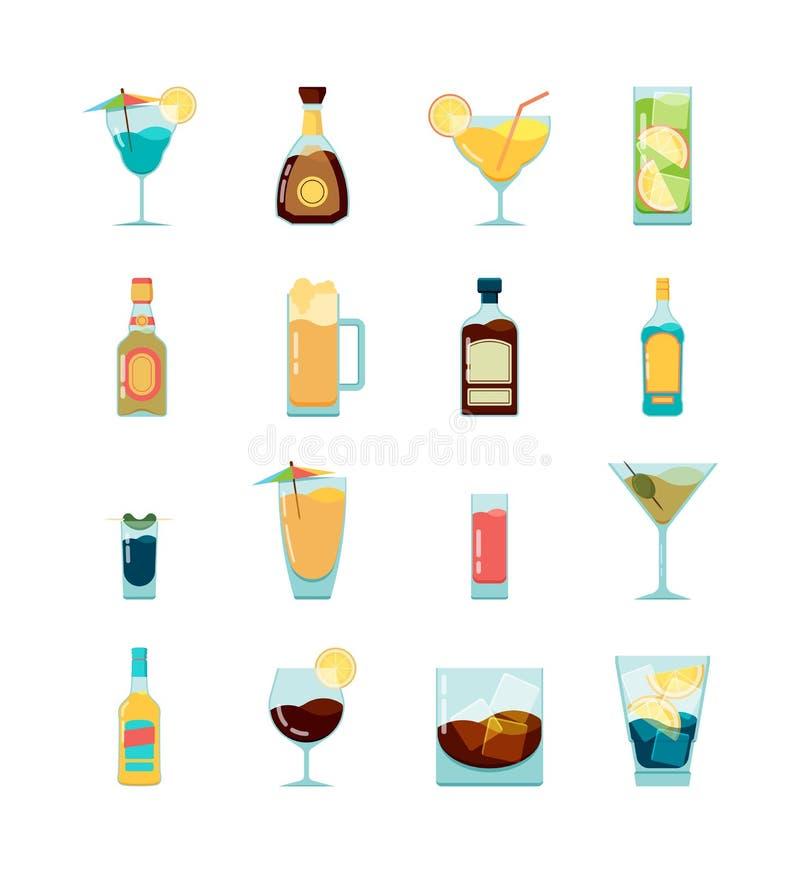 Οινοπνευματώδες εικονίδιο κοκτέιλ Martini βότκα και διαφορετικές οινοπνευματώδεις διανυσματικές επίπεδες εικόνες θερινών ποτών διανυσματική απεικόνιση