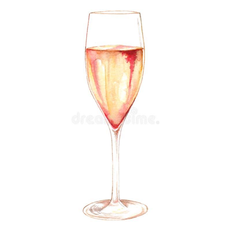Οινόπνευμα γυαλιού λαμπιρίζοντας κρασιού σαμπάνιας Watercolor που απομονώνεται απεικόνιση αποθεμάτων