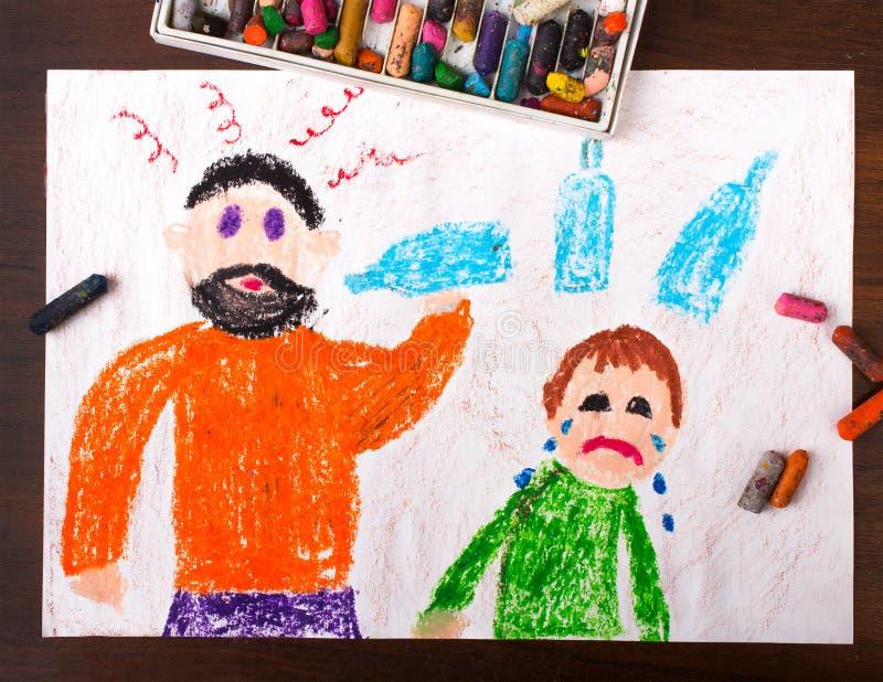Οινόπνευμα κατανάλωσης πατέρων και φωνάζοντας παιδί απεικόνιση αποθεμάτων