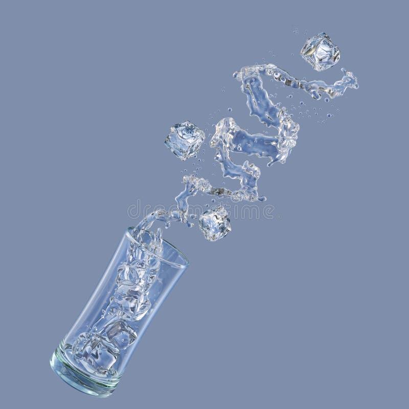 Οινόπνευμα, νερό, υγροί παφλασμοί χυμού από το γυαλί, διακοσμητικό τρισδιάστατη απεικόνιση απεικόνιση αποθεμάτων