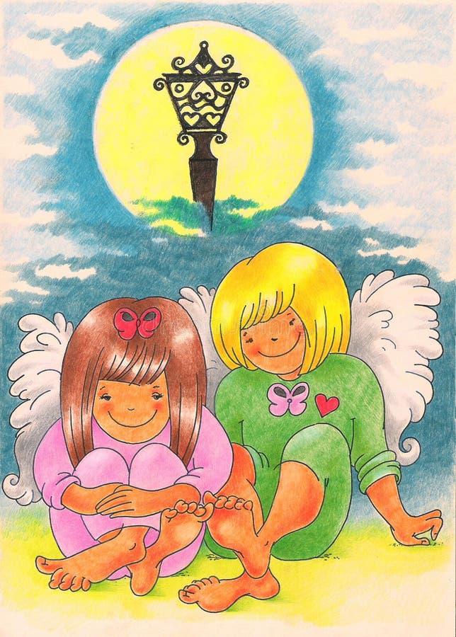 οι άγγελοι αγαπούν δύο διανυσματική απεικόνιση