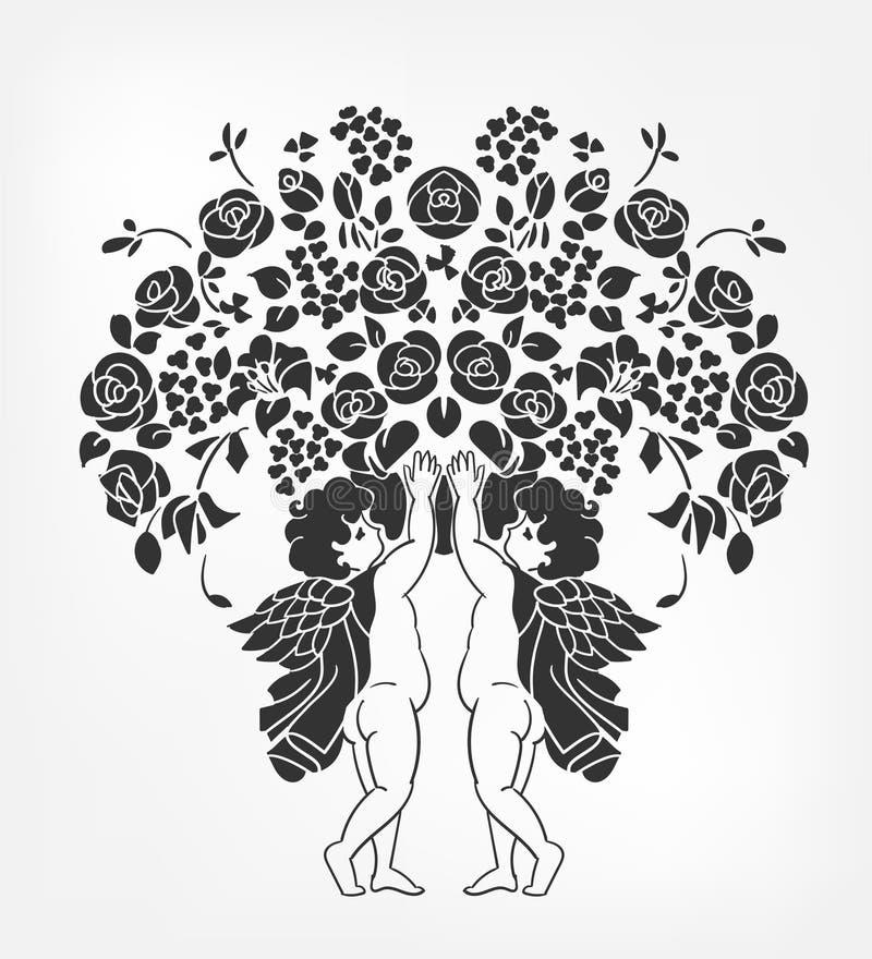 Οι άγγελοι κρατούν το διανυσματικό διάτρητο απεικόνισης λουλουδιών απομονωμένο ελεύθερη απεικόνιση δικαιώματος