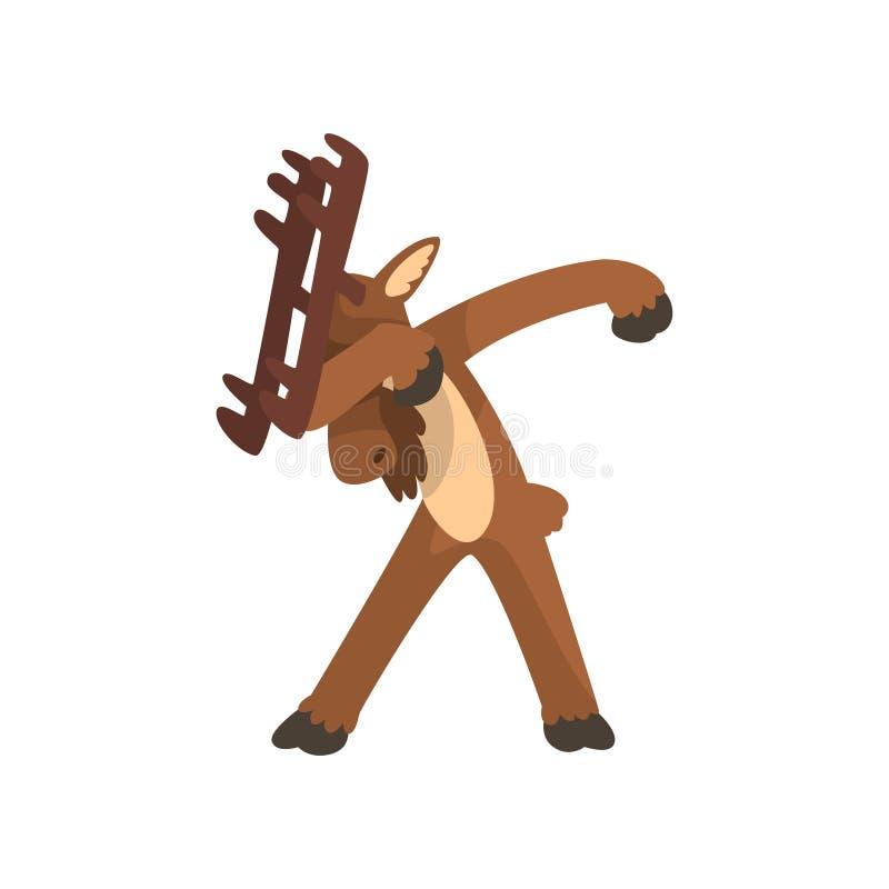 Οι άλκες που στέκονται στο αντίγραφο που χορεύει θέτουν, χαριτωμένο ζώο κινούμενων σχεδίων κάνοντας τη διανυσματική απεικόνιση με διανυσματική απεικόνιση