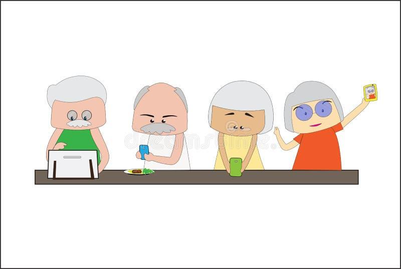Οι άνδρες και οι γυναίκες της μεγάλης ηλικίας χρησιμοποιούν ένα κινητό τηλέφωνο και οι συσκευές επικοινωνίας συνδέουν με το Διαδί απεικόνιση αποθεμάτων