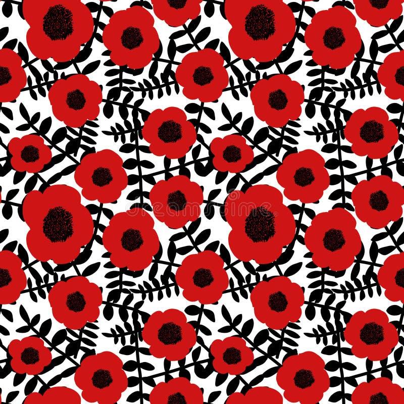 Οι άνευ ραφής floral μαύροι κλαδίσκοι λουλουδιών παπαρουνών σχεδίων συρμένοι χέρι αφηρημένοι κόκκινοι αφήνουν το άσπρο υπόβαθρο,  διανυσματική απεικόνιση