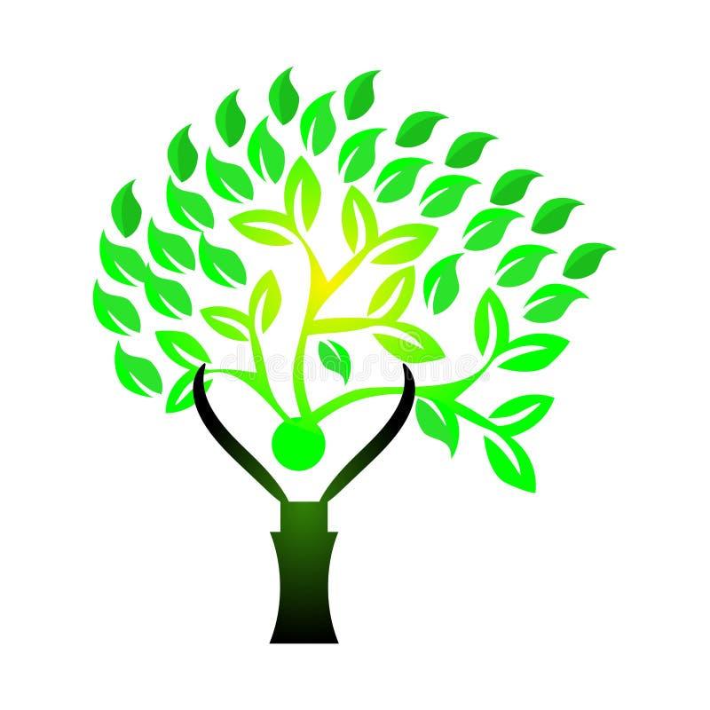 Οι άνθρωποι αγαπούν το δέντρο με τις ρίζες διανυσματική απεικόνιση