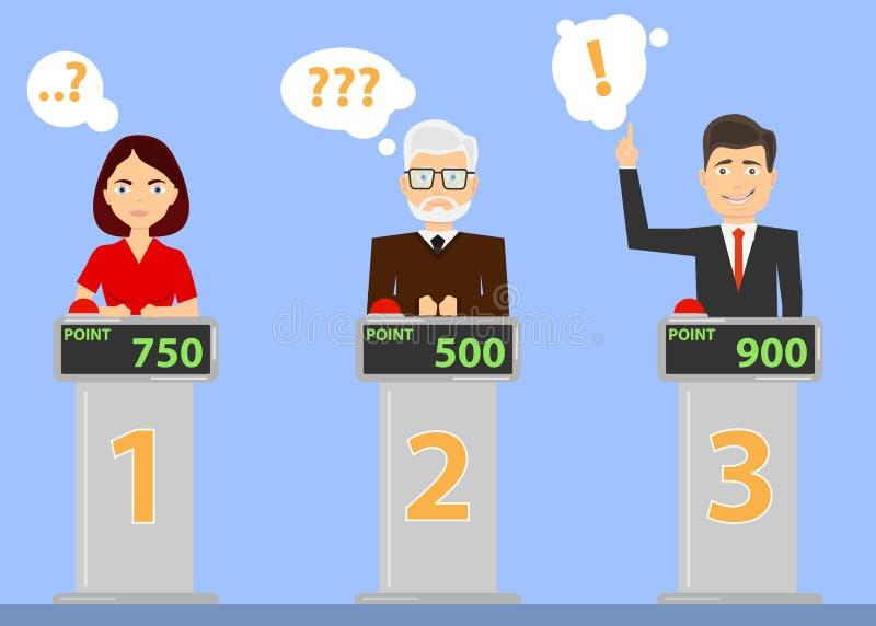 Οι άνθρωποι απαντούν στις ερωτήσεις διαγωνισμοου γνώσεων και χτυπούν στο κόκκινο κουμπί Οι άνθρωποι σκέφτονται για την ερώτηση δι απεικόνιση αποθεμάτων