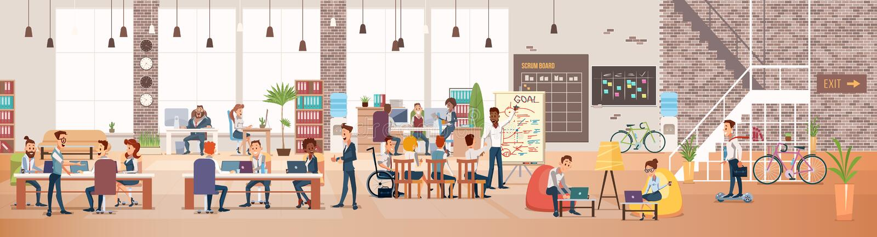Οι άνθρωποι απασχολούνται σε στην αρχή Χώρος εργασίας Coworking διάνυσμα ελεύθερη απεικόνιση δικαιώματος