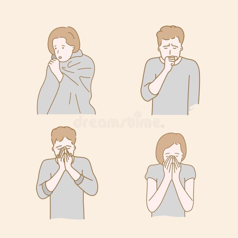 Οι άνθρωποι βήχουν λόγω του κρύου καιρού φθινοπώρου ή χειμώνα συρμένο χέρι ύφος διανυσματική απεικόνιση