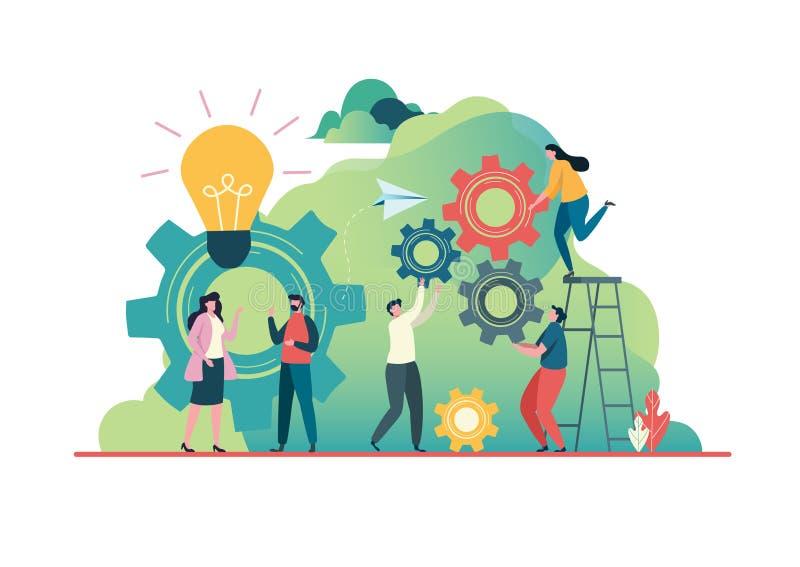 Οι άνθρωποι δημιουργούν την ιδέα στην επιτυχία E Έννοια ομαδικής εργασίας Χτίσιμο ομάδας Μεταφορά ομάδας, από κοινού r απεικόνιση αποθεμάτων