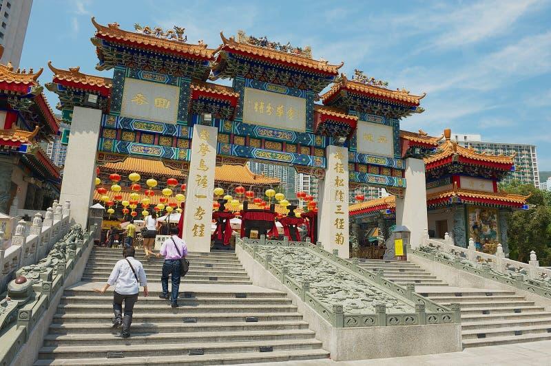 Οι άνθρωποι εισάγουν το ναό Sik Sik Yuen Wong Tai Sin σε Kowloon στο Χονγκ Κονγκ, Κίνα στοκ φωτογραφία με δικαίωμα ελεύθερης χρήσης