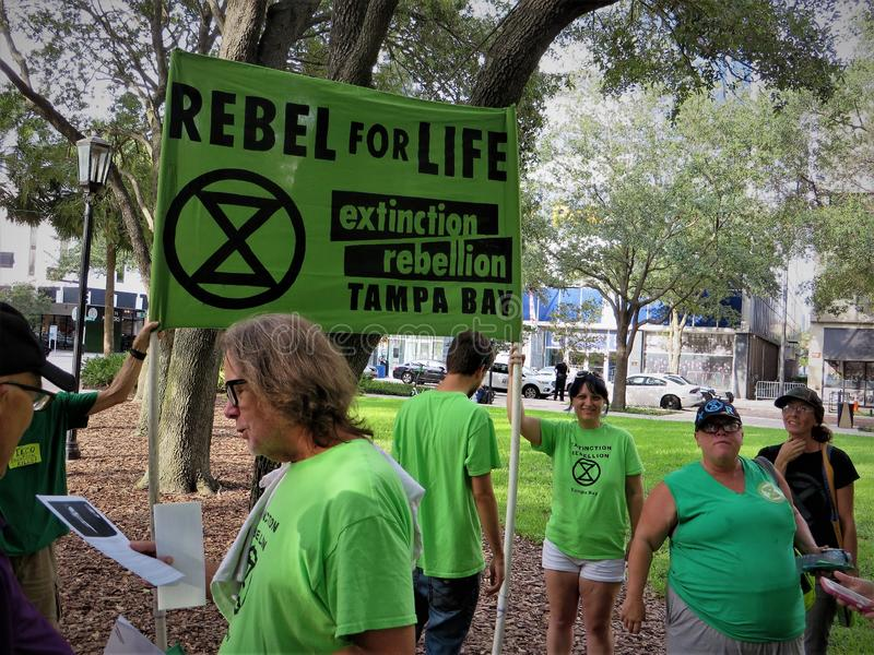 Οι άνθρωποι εναντίον TECO διαμαρτύρονται, Τάμπα, Φλώριδα στοκ φωτογραφία με δικαίωμα ελεύθερης χρήσης
