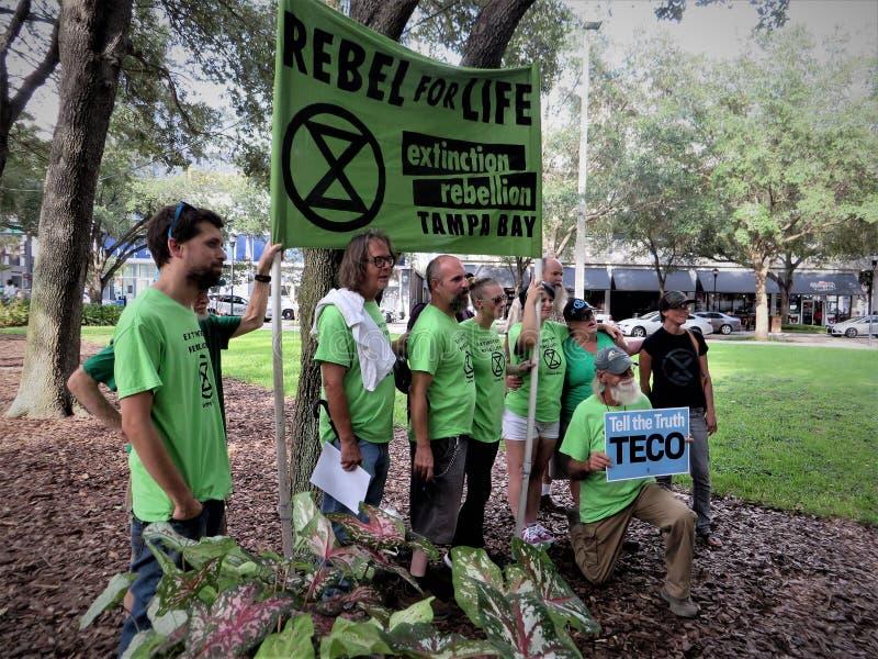 Οι άνθρωποι εναντίον TECO διαμαρτύρονται, Τάμπα, Φλώριδα στοκ εικόνες