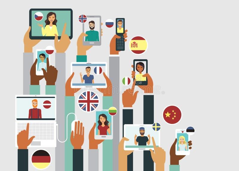 Οι άνθρωποι επικοινωνούν on-line στις διαφορετικές γλώσσες διανυσματική απεικόνιση
