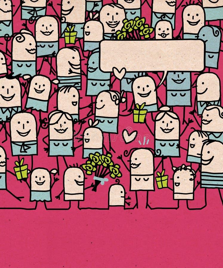 Οι άνθρωποι κινούμενων σχεδίων συσσωρεύουν και η ημέρα της ευτυχούς μητέρας απεικόνιση αποθεμάτων