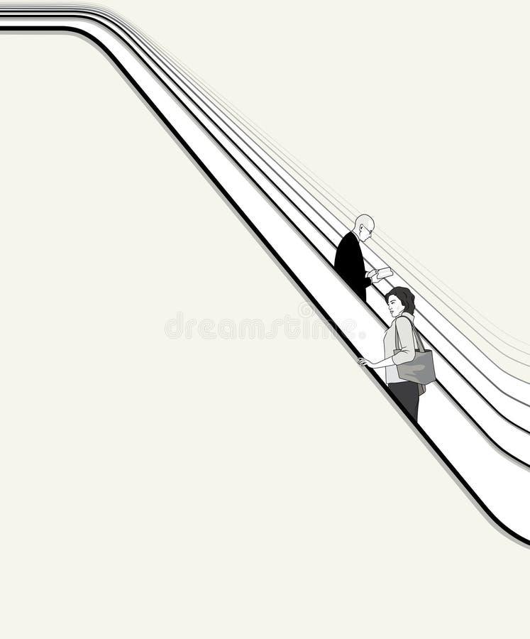 Οι άνθρωποι κινούνται σε escalator2 απεικόνιση αποθεμάτων