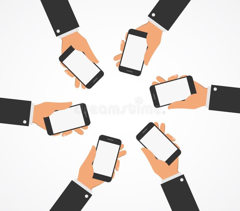 Οι άνθρωποι κρατούν τα κινητά τηλέφωνα Επίπεδο ύφος διανυσματική απεικόνιση
