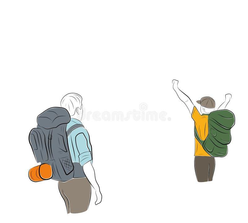 Οι άνθρωποι με τα σακίδια πλάτης πηγαίνουν σε ένα πεζοπορώ επίσης corel σύρετε το διάνυσμα απεικόνισης ελεύθερη απεικόνιση δικαιώματος