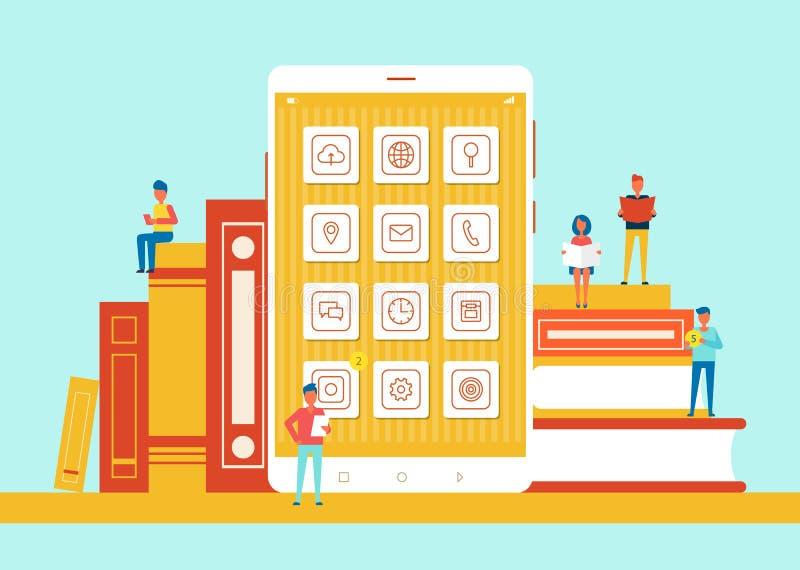 Οι άνθρωποι μικροί σε μέγεθος τηλεφωνούν στη διανυσματική απεικόνιση ελεύθερη απεικόνιση δικαιώματος