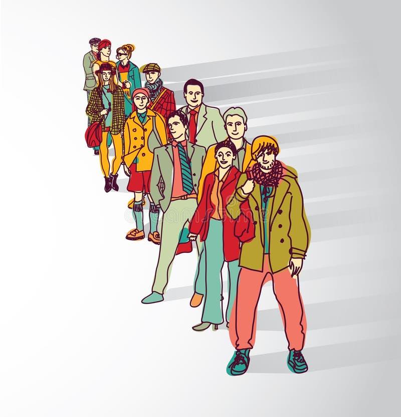 Οι άνθρωποι ομάδας που στέκονται στη σειρά αναμονής παρακολουθούν την επίπεδη σκιά αναμονής απεικόνιση αποθεμάτων