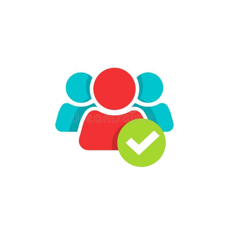 Οι άνθρωποι ομαδοποιούν και checkmark το διανυσματικό εικονίδιο, επίπεδο λογότυπο ένωσης ομάδων κινούμενων σχεδίων, σύμβολο συνερ απεικόνιση αποθεμάτων