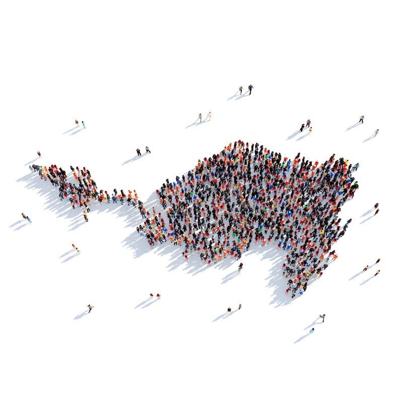 Οι άνθρωποι ομαδοποιούν το χάρτη Sint Maarten μορφής διανυσματική απεικόνιση