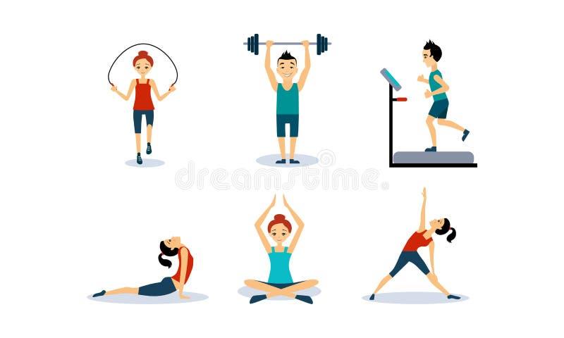 Οι άνθρωποι που κάνουν τις αθλητικές ασκήσεις θέτουν, άνδρες και γυναίκες που πηδούν το σχοινί, που τρέχει treadmill, που κάνει τ απεικόνιση αποθεμάτων