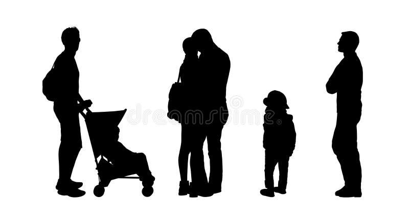 Οι άνθρωποι που στέκονται τις υπαίθριες σκιαγραφίες θέτουν 27 διανυσματική απεικόνιση
