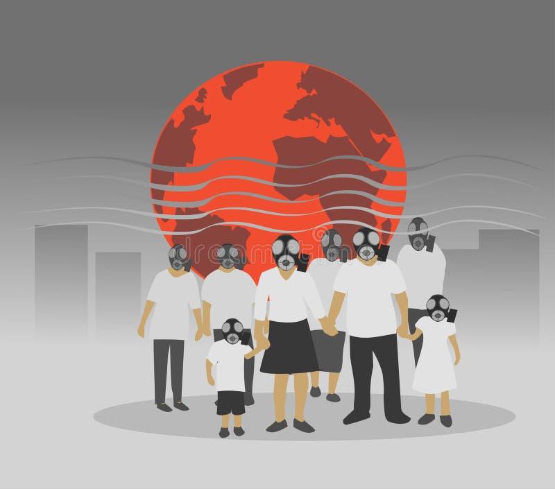 Οι άνθρωποι που φορούν τις μάσκες ατμοσφαιρικής ρύπανσης λόγω της παγκόσμιας θερμοκρασίας αυξάνονται και ο τοξικός αέρας διανυσματική απεικόνιση