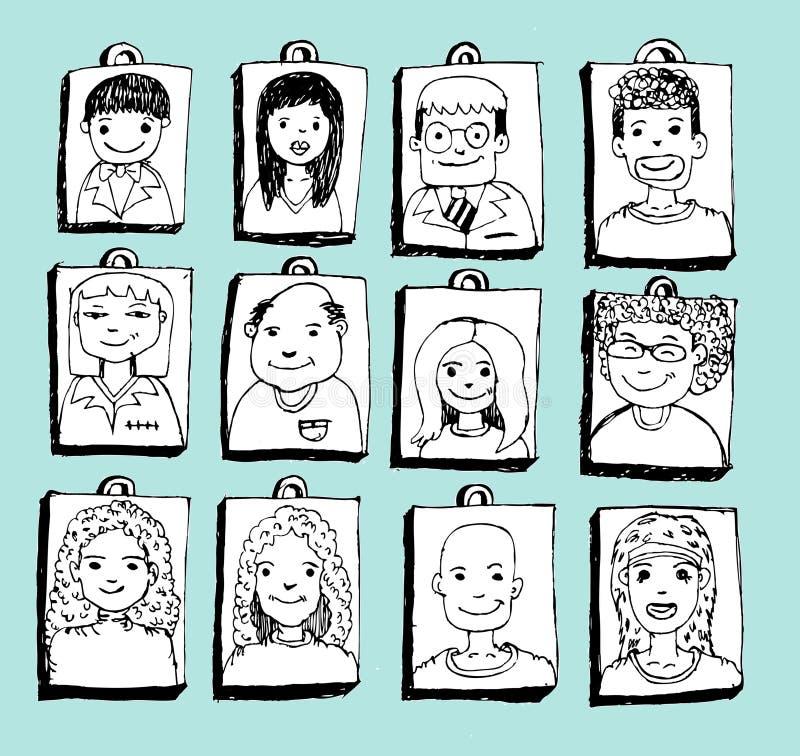 Οι άνθρωποι προσώπου σκιαγραφούν το πλήθος των αστείων λαών διανυσματική απεικόνιση