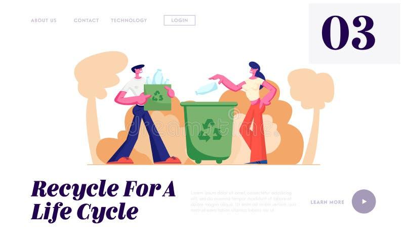 Οι άνθρωποι ρίχνουν τα απορρίματα στα εμπορευματοκιβώτια και τις τσάντες με το ανακύκλωσης σημάδι Η ανακύκλωση, ρύπανση, προστασί διανυσματική απεικόνιση
