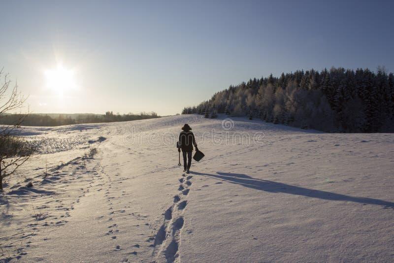Οι άνθρωποι σκιαγραφούν στο χιονίζοντας τομέα κοντά στο δασικό χειμώνα ήλιων του FIR στοκ φωτογραφία με δικαίωμα ελεύθερης χρήσης