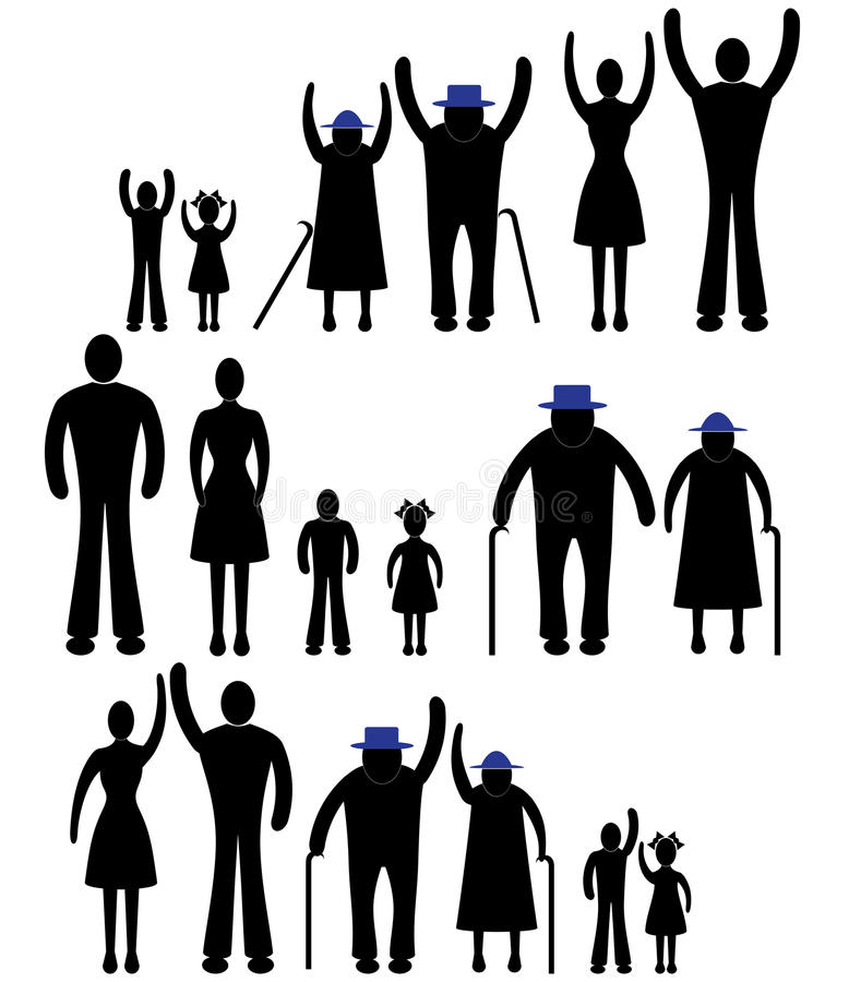 Οι άνθρωποι σκιαγραφούν το οικογενειακό εικονίδιο. Διανυσματική γυναίκα προσώπων, άνδρας. Παιδί, παππούς, απεικόνιση παραγωγής για διανυσματική απεικόνιση