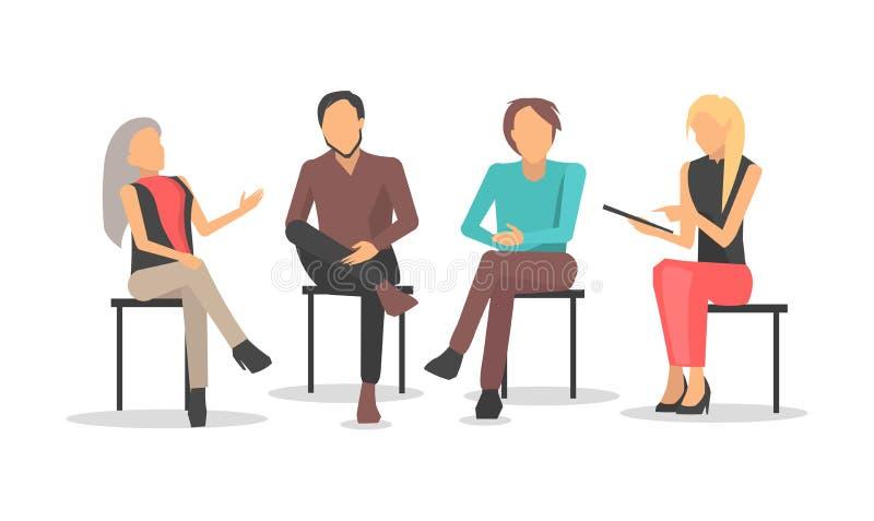 Οι άνθρωποι στην επιχειρησιακή κατάρτιση κάθονται και συζητούν τα ζητήματα διανυσματική απεικόνιση