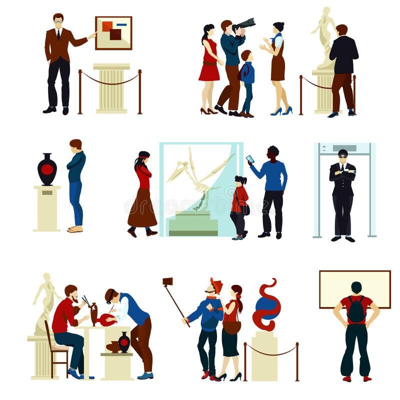 Οι άνθρωποι στη στοά μουσείων χρωματίζουν τα εικονίδια διανυσματική απεικόνιση