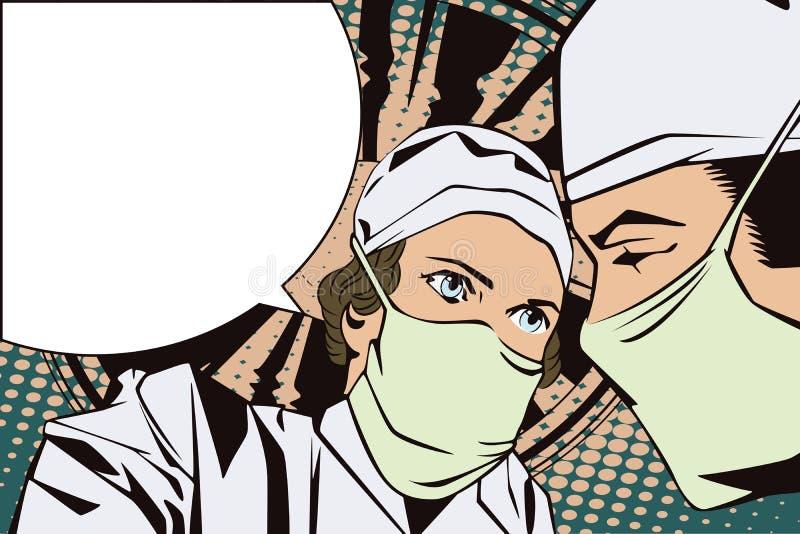 Οι άνθρωποι στο αναδρομικό ύφος σκάουν την τέχνη και την εκλεκτής ποιότητας διαφήμιση Οι γιατροί στο λειτουργούν δωμάτιο ελεύθερη απεικόνιση δικαιώματος
