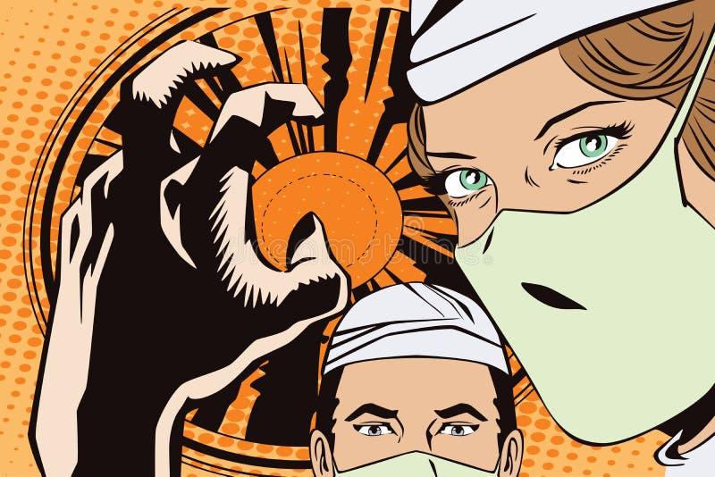 Οι άνθρωποι στο αναδρομικό ύφος σκάουν την τέχνη και την εκλεκτής ποιότητας διαφήμιση Οι γιατροί στο λειτουργούν δωμάτιο απεικόνιση αποθεμάτων